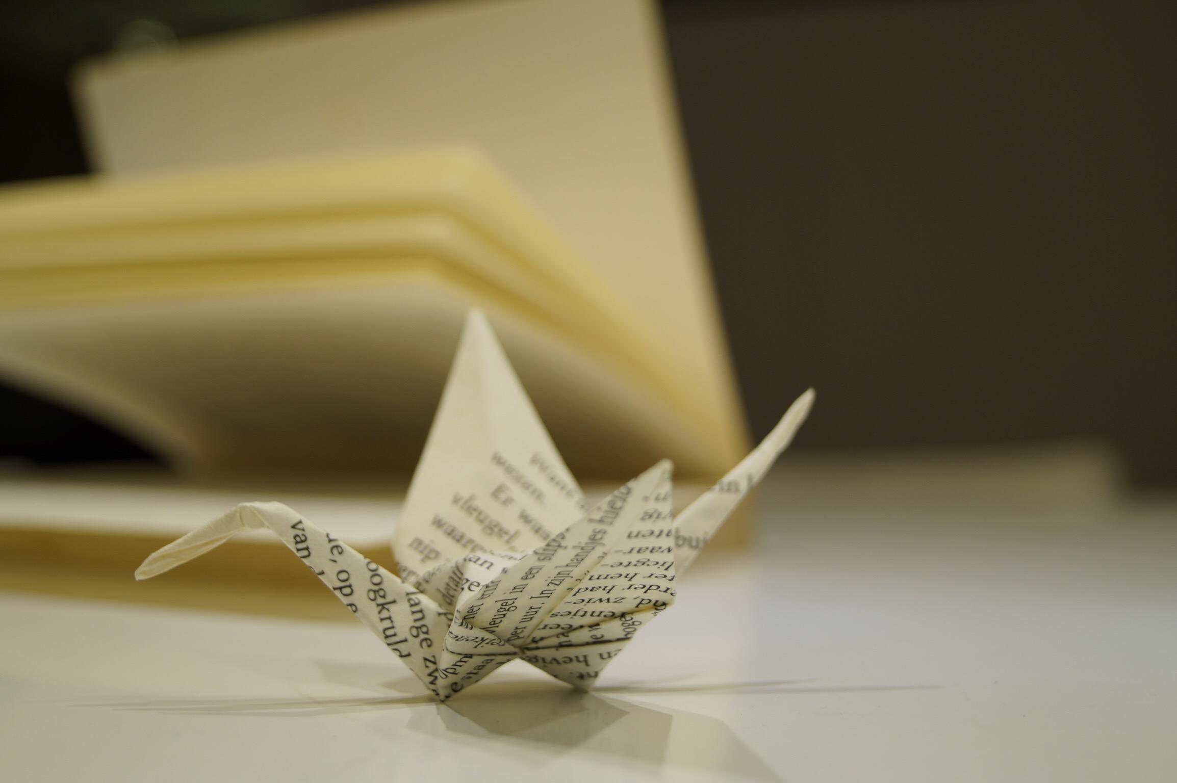 Citaten Uit Een Boek : Kraanvogel gevouwen uit een bladzijde van boek maak